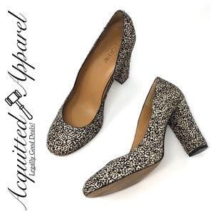 J. Crew | Pony Hair Tan Cheetah Print Shoes Heels